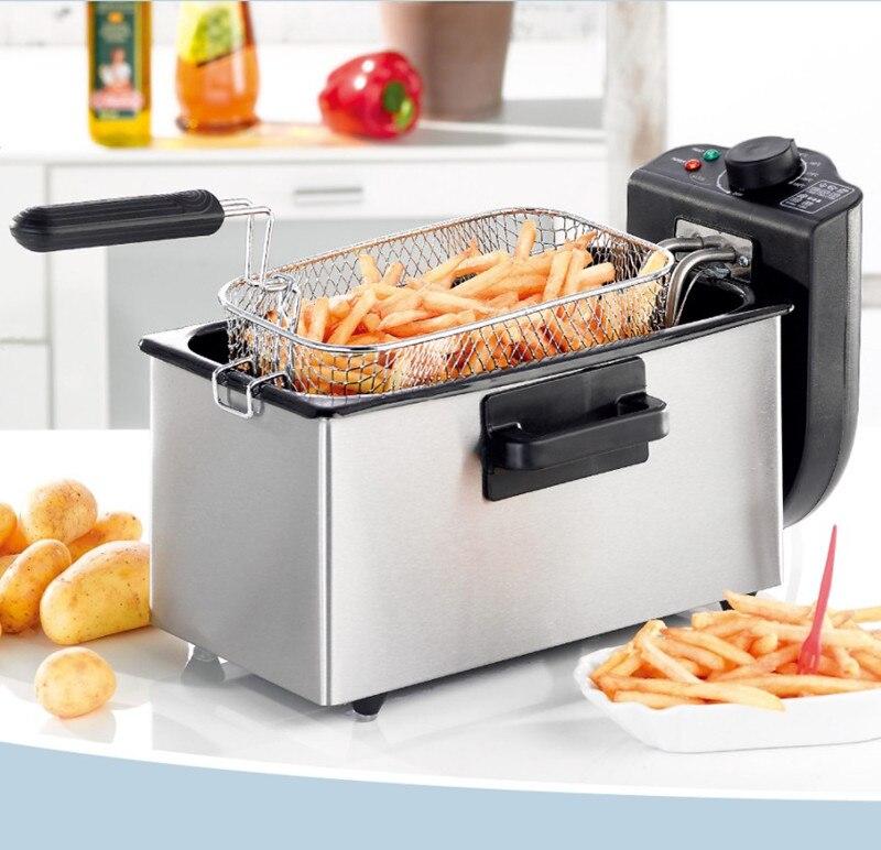 Freidora eléctrica, sartén doméstica para patatas fritas, máquina para no fumar de acero inoxidable, termostática comercial elect