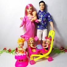 6 personnes famille poupée costumes maman/papa/fils bébé/Kelly/calèche filles jouets mode poupée enceinte enfant jouets anniversaire bébé poupée