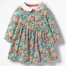 Little maven 2-7Years Baby Girl Fancy Dress For Autumn New Children's Girl's Long Sleeve Floral Print Beautiful princess Dress