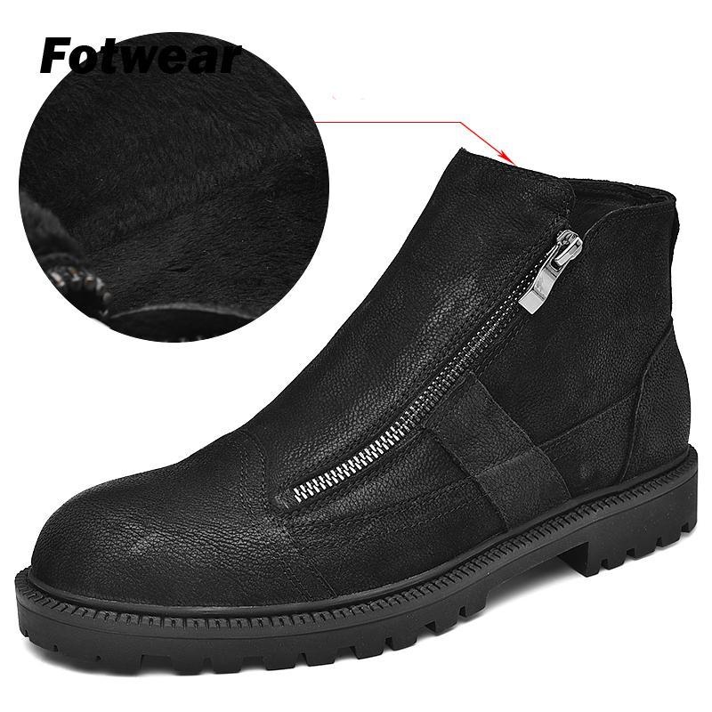 Fotwear homens botas de couro de grão completo trabalho preto sapatos de pelúcia inverno bota com zip macio microfleece forro para maior calor