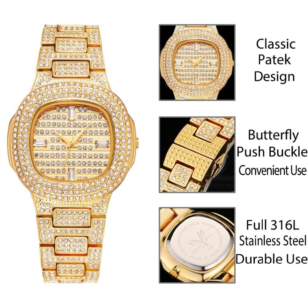 MISSFOX Brand Watch Quartz Ladies Gold Fashion Wrist Watches Diamond Stainless Steel Women Wristwatch Girls Female Clock Hours