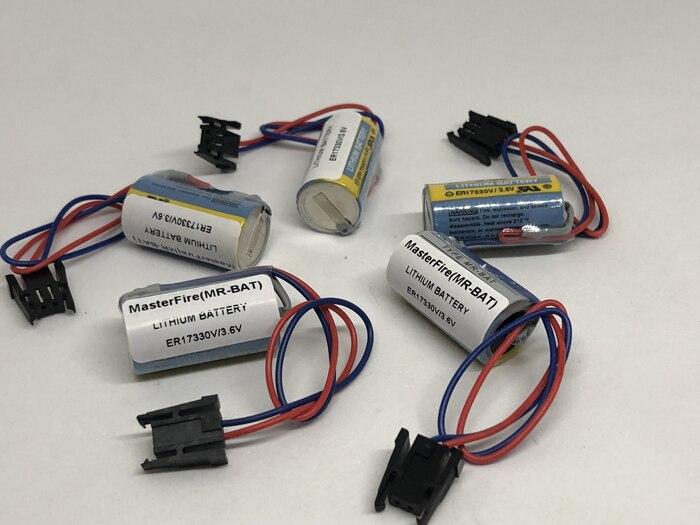 MasterFire 9 unids/lote nueva batería Original para ER17330V MR-BAT CNC 3,6 V 1700mah PLC baterías de litio con enchufes para Mitsubishi