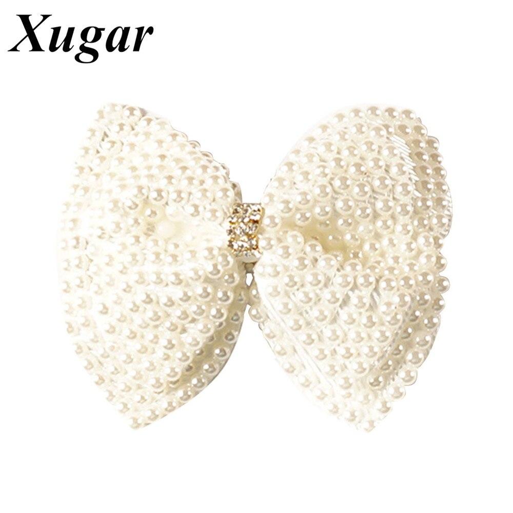 2 uds Boutique de lazos de pelo de perlas para niñas dulces blanco Rhinestone lazos de pelo con Clip de cocodrilo accesorios de pelo de perla encantadora