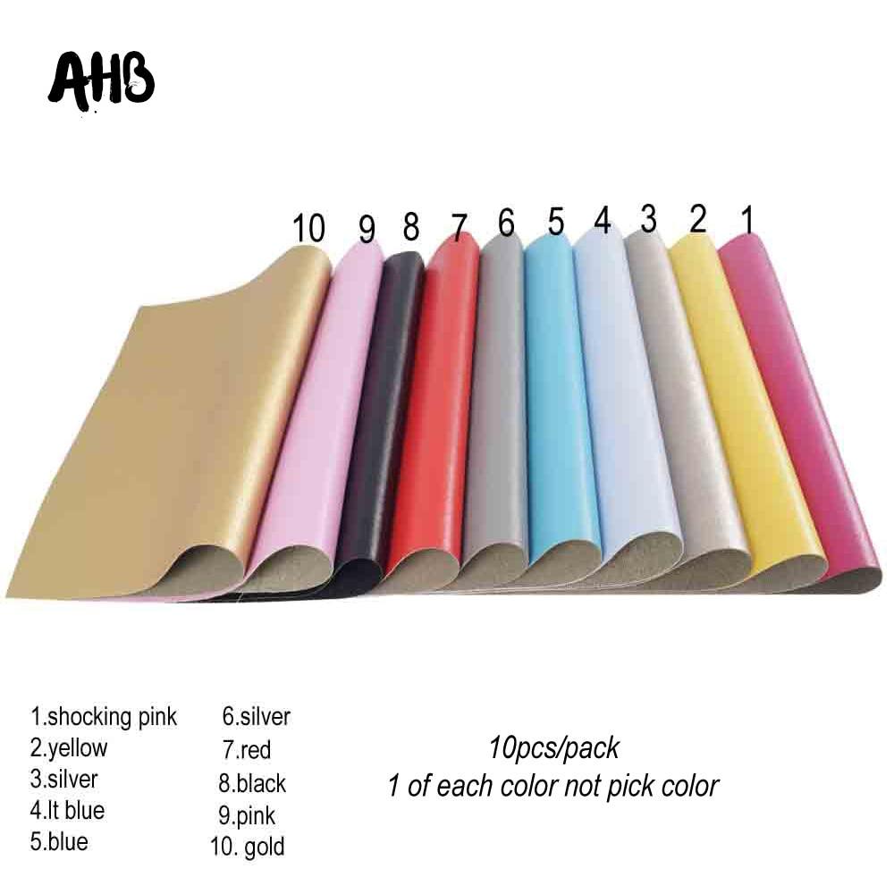 AHB 10 unids/bolsa suave de cuero de imitación tela de papel metálico en artesanías DIY cinta para cabeza con lazo bolsos de mano costura hecha a mano Material de PU