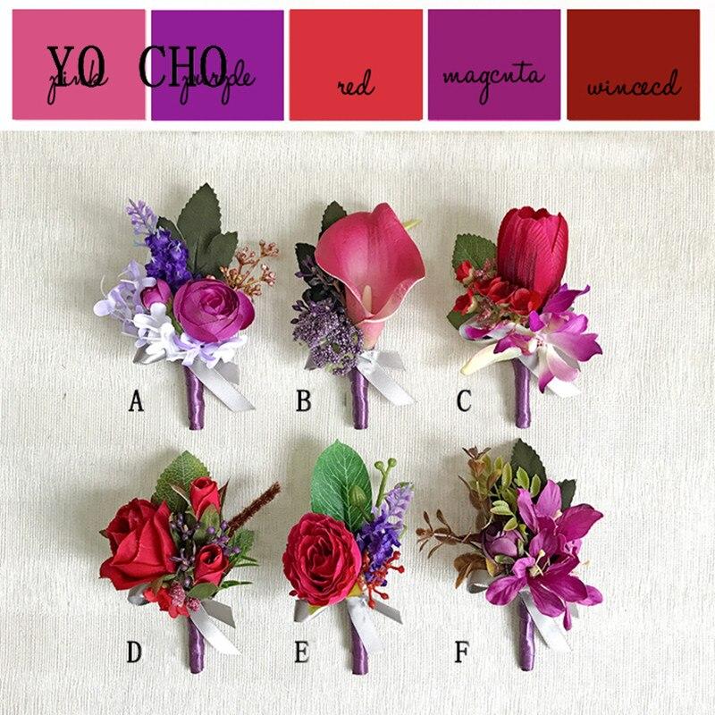 Nuevo estilo elegante de YO CHO, púrpura, rojo, flores en ramillete, damas de honor, hermanas, Bestman, flores en ramillete, quinceañera, nupcial, fiesta