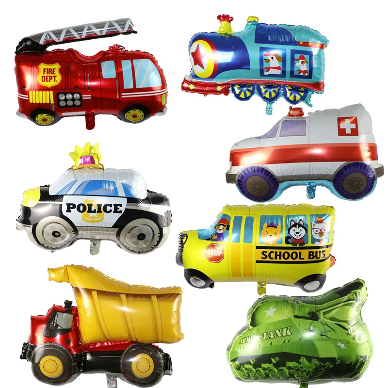 بالون سيارة الشرطة ، 50 قطعة ، قطار جامبو ، سيارة صهريج ، سيارة إطفاء ، سيارة إسعاف ، لعبة تزيين حفلات أعياد الميلاد للأطفال
