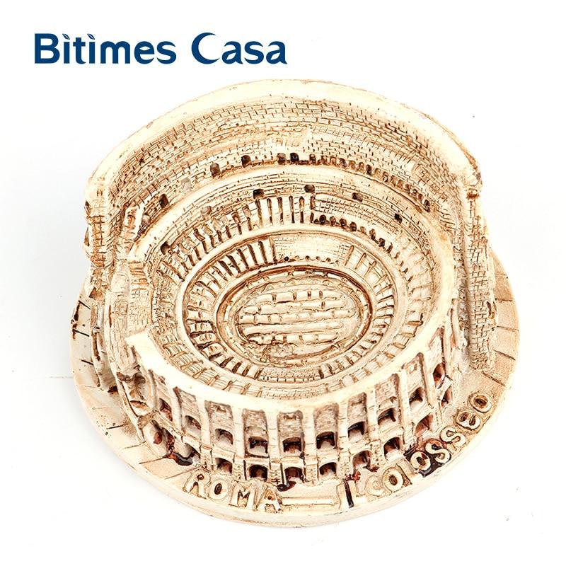 Bitimes arquitectura miniatura resina figuras de coliseo romano estatua histórica ornamento de construcción decoración Retro para el hogar