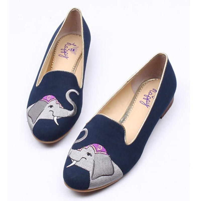 2017 nuevos zapatos divertidos de elefante bordados femeninos zapatos planos zapatos informales de tela de algodón cómodas zapatillas planas estudiante de punta redonda