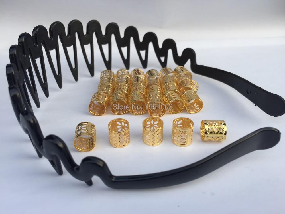 50pcs+Free 3pcs Gold Plated Hair Braid Cuff Clip Flower Pattern Dreacklock Beads Adjustable Bead Tube Clip 10x10mm