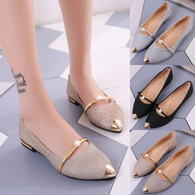 Туфли женские, с мелким мыском и жемчугом, тонкие туфли на плоской подошве, Корейская версия, 100