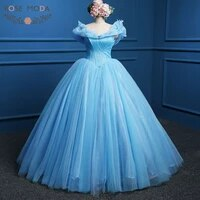 rose moda blue cinderella prom dress movie cosplay costume ball gown party dresses real photo