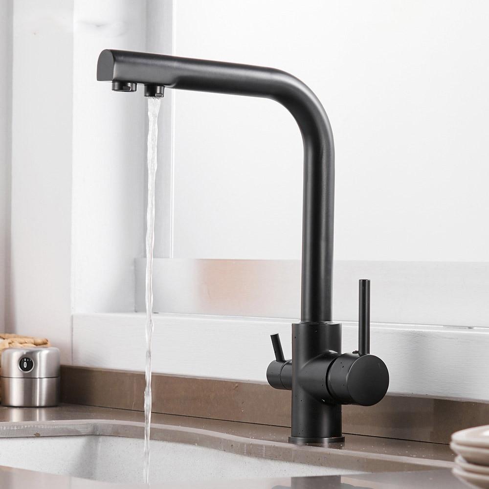 Кухня Смесители твердой латуни для Кухня бортике фильтр Водопроводной воды три способа Смеситель для мойки 3 Way Кухня кран N22-187