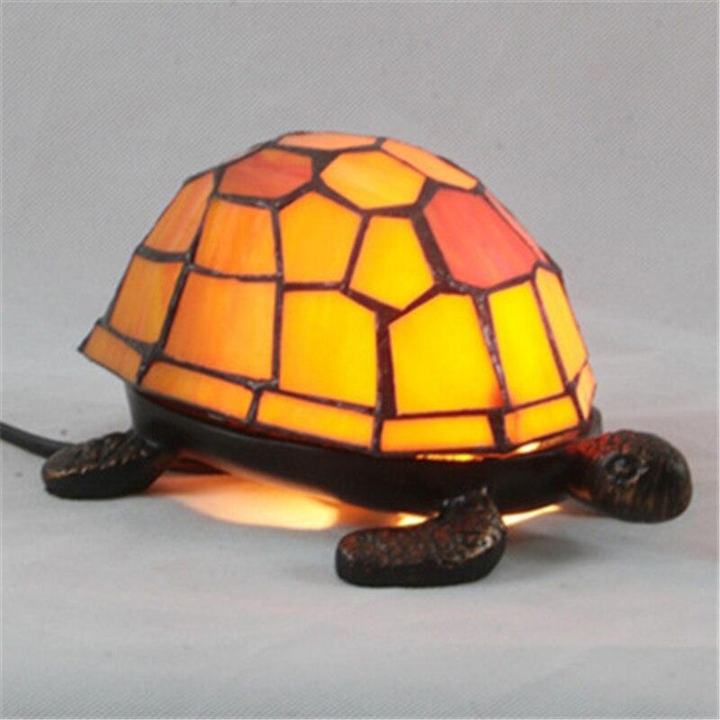 2019 retro tartaruga candeeiro de mesa tiffany, quarto cabeceira lâmpada de mesa vidro manchado tartaruga noite luz presente criativo, 3 cores
