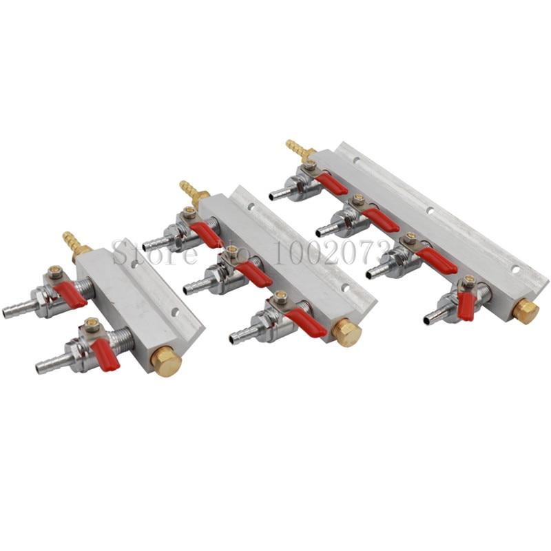 """Bifurcador divisor de distribución de Gas y aire de 2/3/4 vías CO2 válvulas de retención 1/4 """"Barb 7mm guarniciones de barril de cerveza Kegerator Dispenser"""
