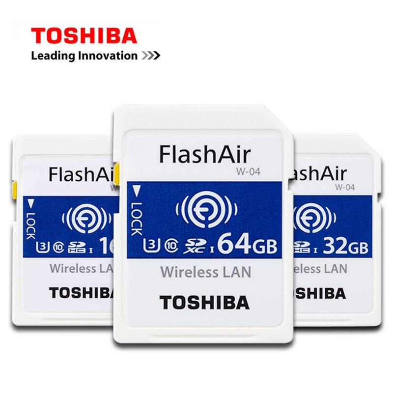 NUEVA tarjeta SD TOSHIBA inalámbrica LAN Wifi FlashAir Class10 U3 Tarjeta de cámara SDHC 64GB SDXC W-04 tarjeta de memoria