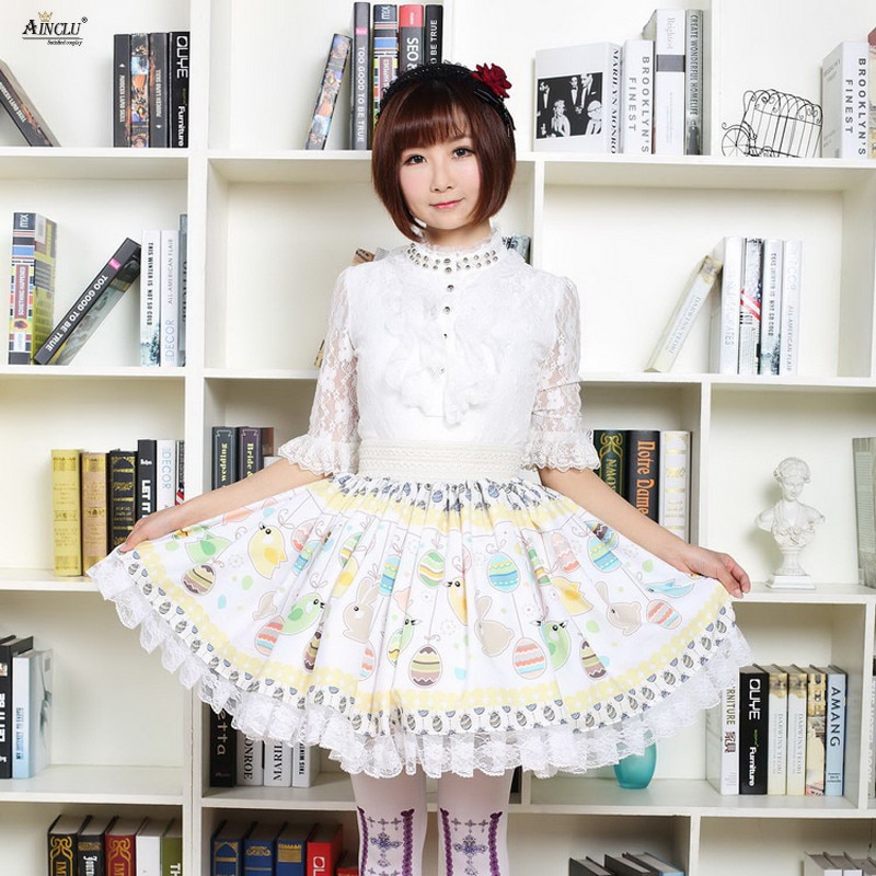Summer 2018 Japanese Style Lace Skirts Womens Apricot Cute Soft Sister Easter Eggs/Rabbits Printed Pleated Short Skirts XS-XXL