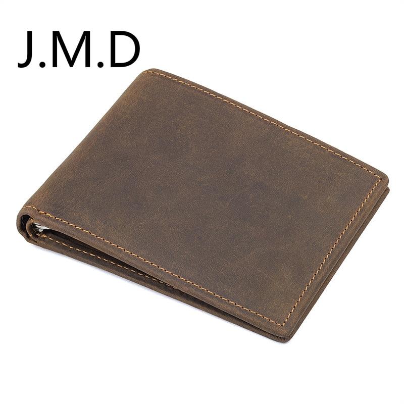 Cartera de cuero genuino 8166 de cuero de Caballo loco de la pantalla del RFID de J.M.D