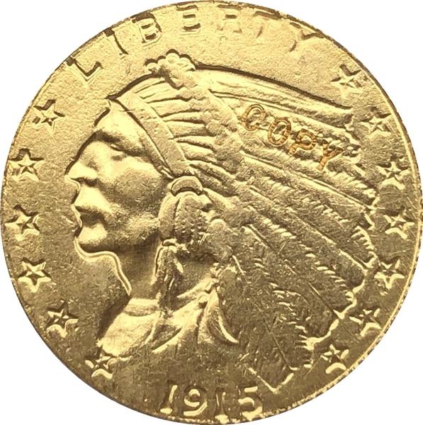 24-к позолоченный 1915-S $5 золото индийская половина монета с изображением орла КОПИЯ БЕСПЛАТНАЯ ДОСТАВКА
