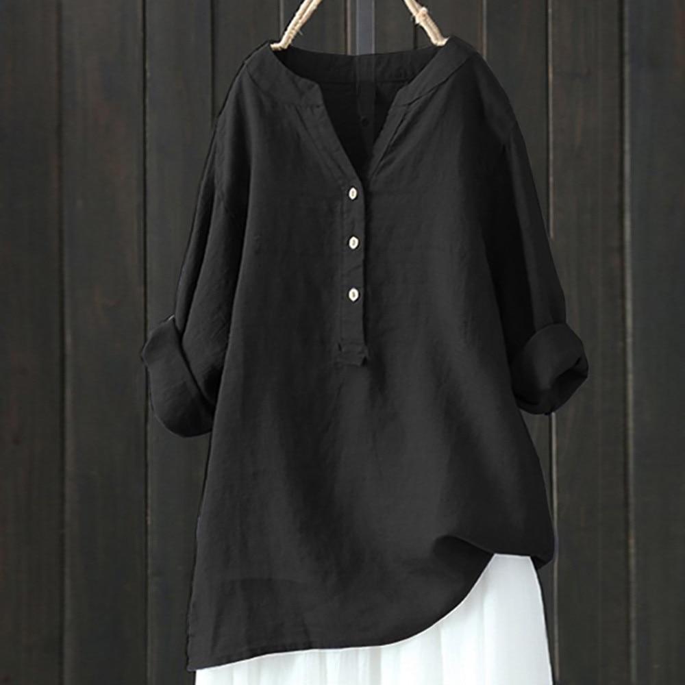 S-5L de talla grande para mujer, camisa de manga larga, informal, holgada, blusa lisa con cuello levantado, Tops de cuello abotonado, Dropshipping, Ropa de mujer