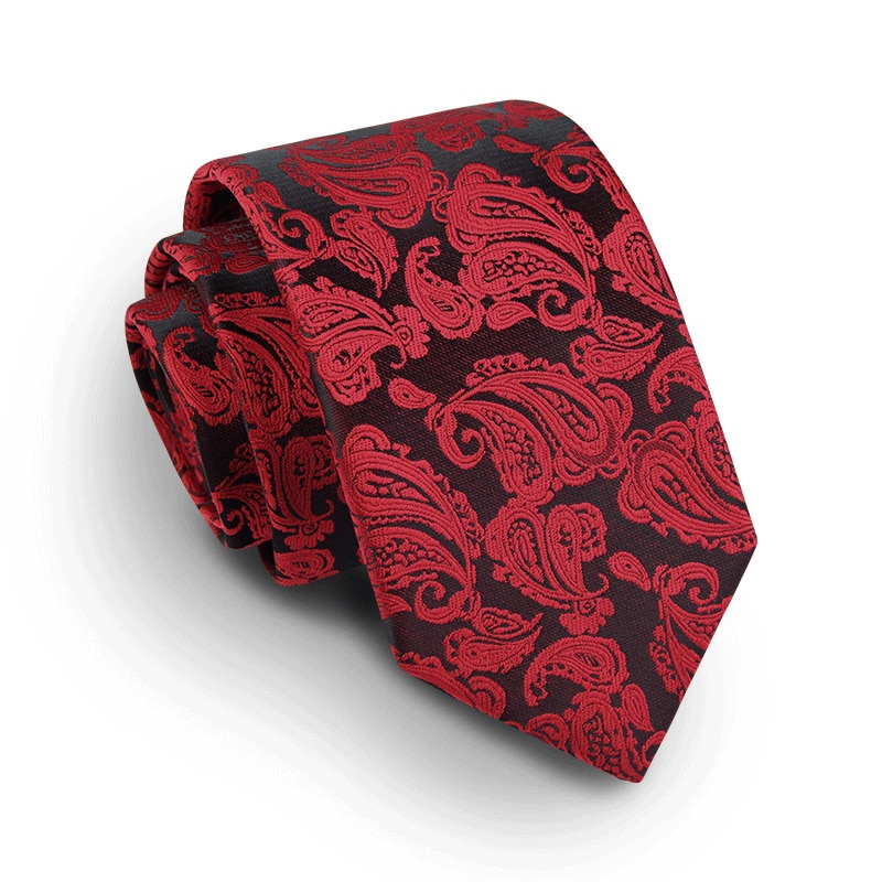 2019 New Mens Ties 7cm Top Quality Classic Paisley Red Necktie Fashion Slim Neck Ties for Men with Men Tie Luxury Gift Box