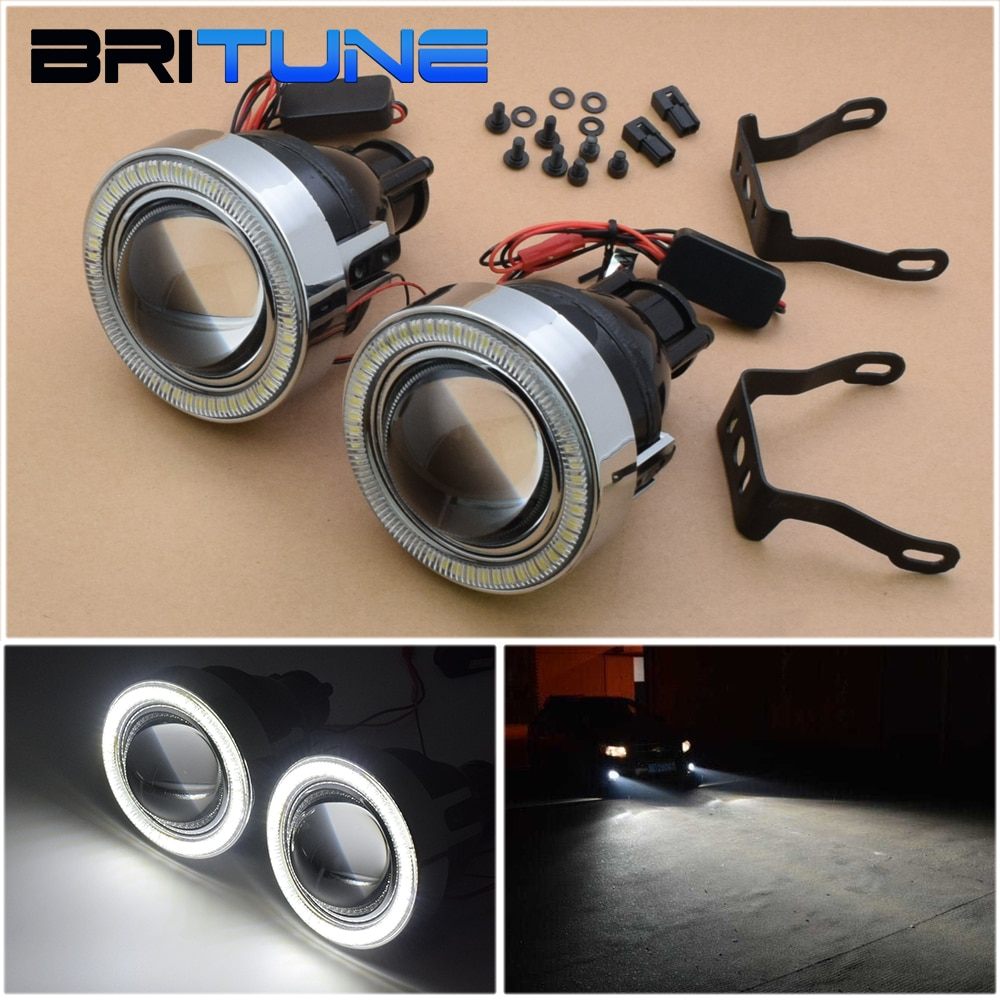 Britune Universal PTF Car Lenses Tuning Fog Light Lens LED Angel Eyes Kit H11 H8 H9 HID Projector Bixenon Car Lights Accessories