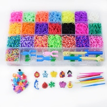 Loom Bands Box Kid DIY Set Bracelet Silicone Rubber Bands Elastic Colorful Weave Loom Bands Toy Chil