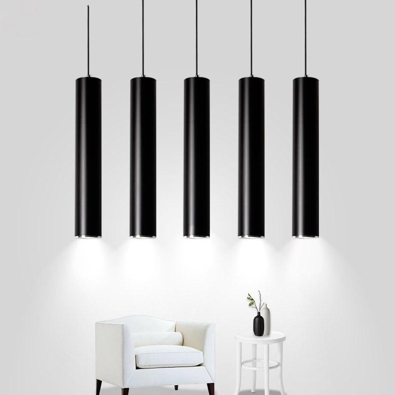Lámpara colgante negra de tubo largo Luces colgantes modernas LED, lámpara colgante para tienda o cocina, lámpara colgante