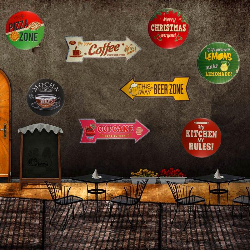 Letrero de Metal de estaño, colgante vintage, cartel, café, cerveza, Pizza, zona, Feliz Navidad, Bar, Pub, café, café, pegatinas de pared, decoración
