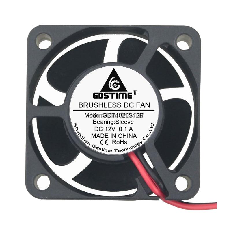 2PCS Gdstime 12V 2Pin 4020 4cm 40x40x20mm 40mm Brushless DC Cooling Fan