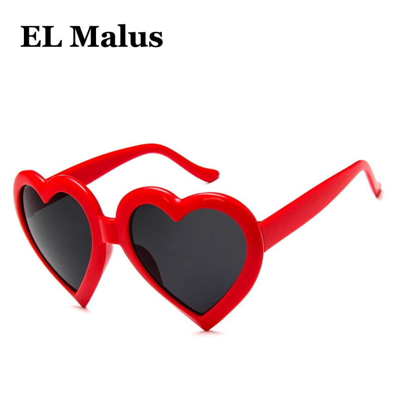 [EL Malus] lindas gafas de sol Retro con montura de corazón para mujer, marca UV400, gafas de sol con cristales rosas, negras, Rojas, de marca, para mujer