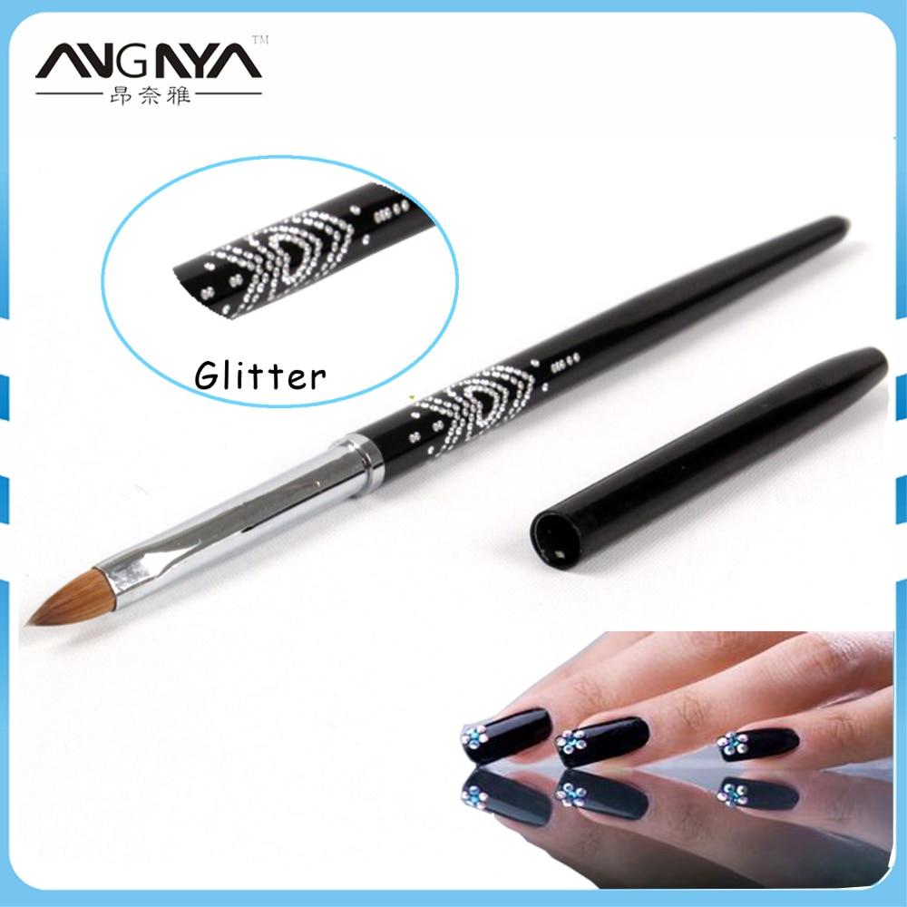 ANGNYA Nails Art Brush Rhinestone Diamond Metal Acrylic Handle Kolinsky Carving Powder Gel Nail Brush 2#4#6#Oval Nails Pen A006