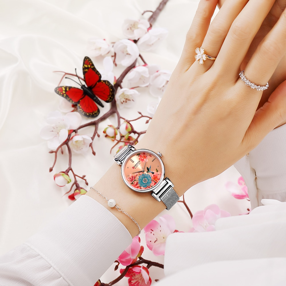 CURREN Unique Flower Women Watch Silver Rose Gold Slim Mesh Steel Strap Belt Bracelet Quartz Watches Fashion Female Relogio Gift enlarge