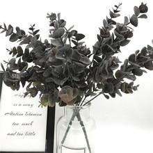 35CM Artificial Eucalyptus Plastic Plants Silver Dollar Leaf  Spray Dusty Leaves for Wedding Holiday Party Greenery Decoration