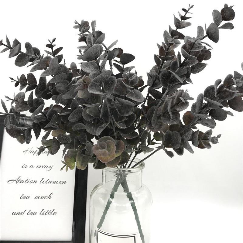 35CM de eucalipto plantas de plástico Dólar de plata de la hoja de polvo de hojas para boda fiesta verde Decoración