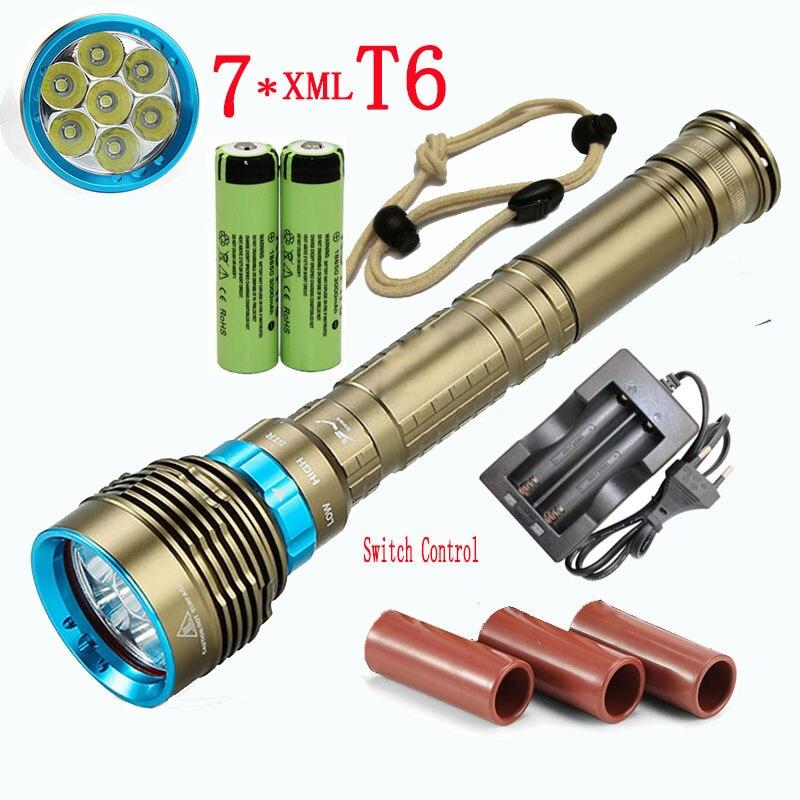 Linterna submarinismo 8000Lm 7x XML T6, linterna resistente al agua, lámpara de luz táctica, luz de flash + batería 2x18650 + cargador
