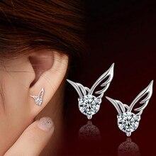 SHUANGR 1 para moda damska srebrny kolor biżuteria Angel Wings kryształowe kolczyki do uszu TF143