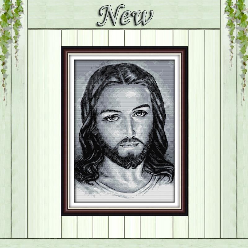 Retrato de Jesús cristiano, Impresión de 11CT en lienzo DMC 14CT kit de bordado de punto de cruz, conjunto de costura, decoración del hogar