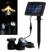 new solar powered light 2 lamps 12 led waterproof landscape spotlight for garden pool pond lawn