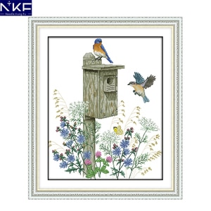 NKF The bird's home animal style needlework catalogs beautiful designs Chinese cross stitch kits for home decoration
