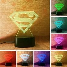 Superman Model 3D Illusion LED NightLight Flashing Light Glow in the Dark Super Hero Figure Toys Holiday gift
