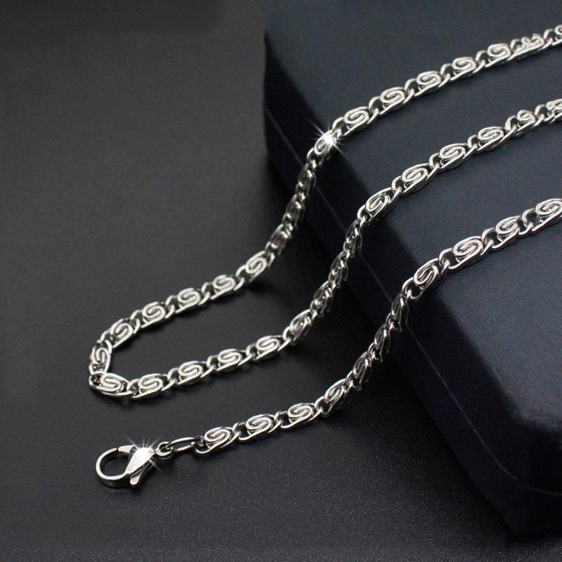 3.5 milímetros 4mm Colar dos homens de Aço Inoxidável Bizantino Chains Torcida Colar de Cor Prata Jóias Masculinas Atacado
