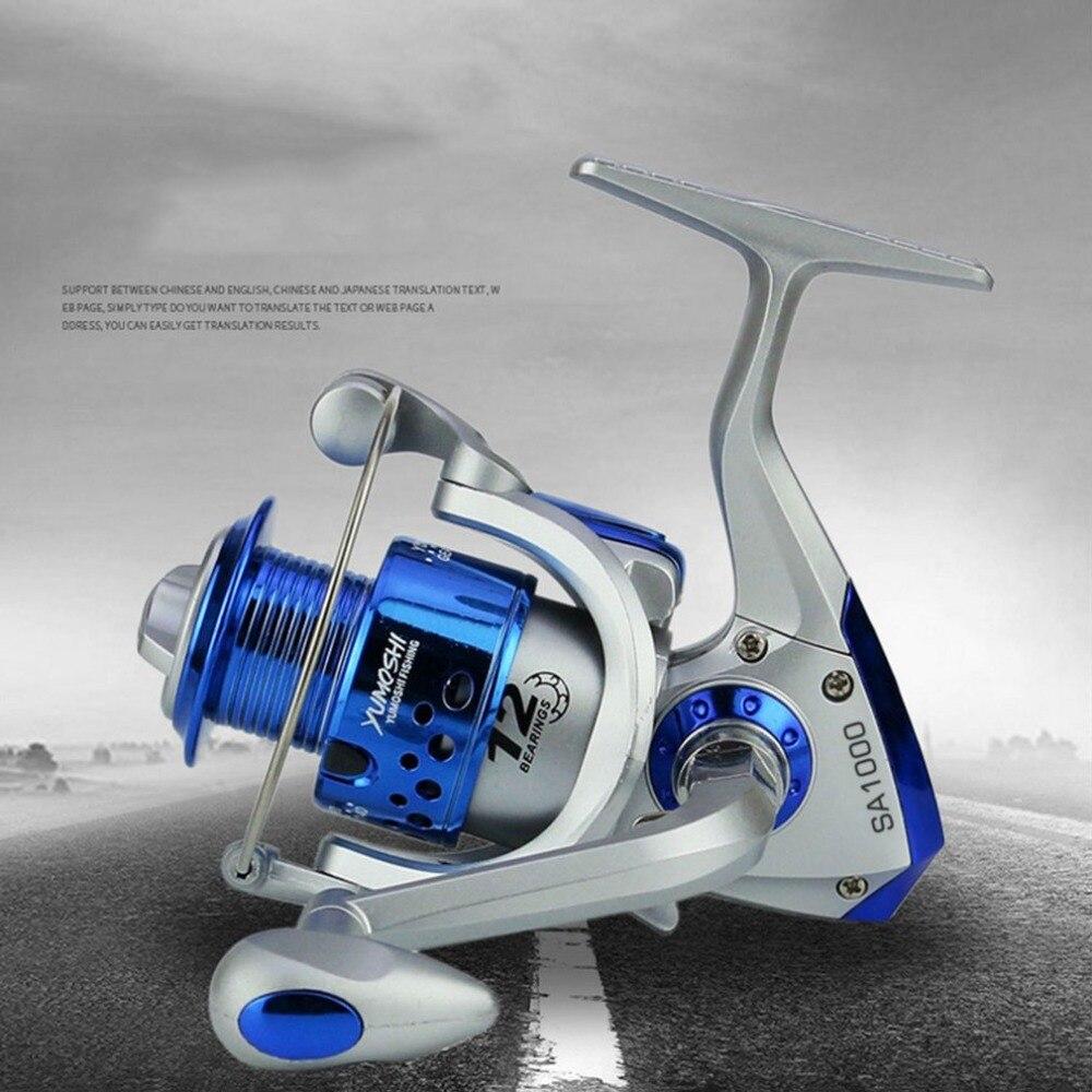 Carrete de pesca de agua dulce ultraligero de fibra de carbono giratorio serie yomoshi SA1000-7000 6BB Spin Plastic con brazo basculante de Metal