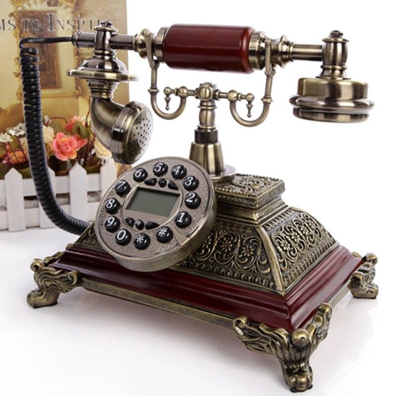 Auténtico estilo europeo villa antiguo teléfono llamador ID decoración teléfono Dial rotativo