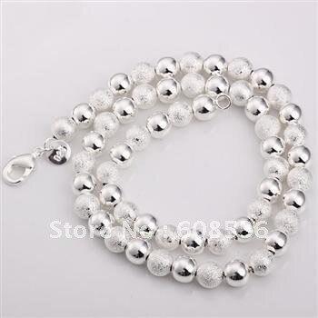 Joyería de moda, Plata color platedr 8MM Scrub BEADS collar, SAL caliente N172
