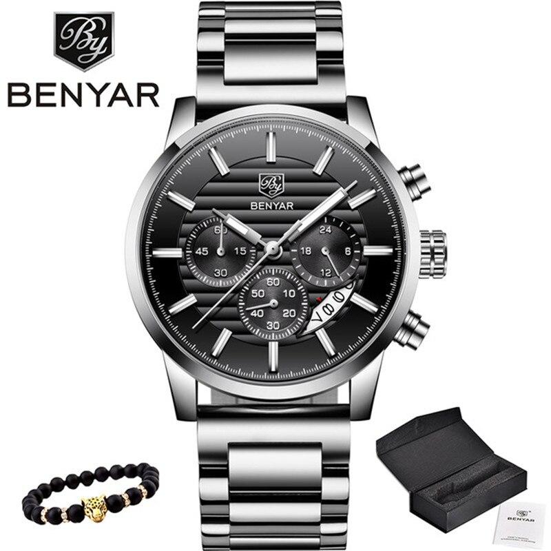 2020 BENYAR Top Brand Luxury Mens Watches Casual Fashion Chronograph Sports Military Quartz Wrist Watch Clock Relogio Masculino