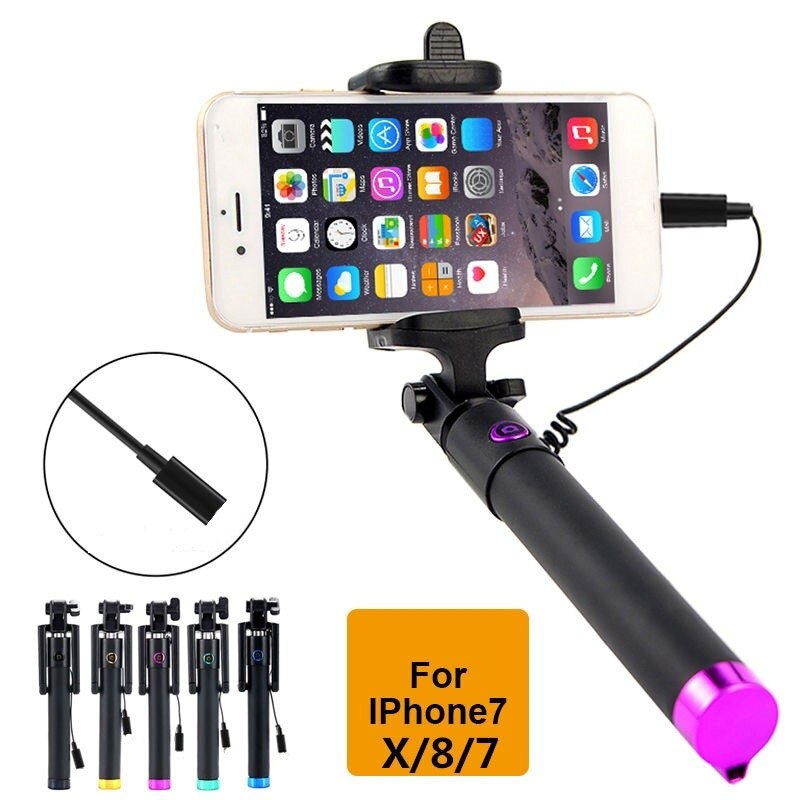 Para o iphone x xs max 7 Selfiestick Palo Selfie Handheld Vara Selfie Com Fio para iOS Gopro para iPhone 8 plus varas Selfie Monopé