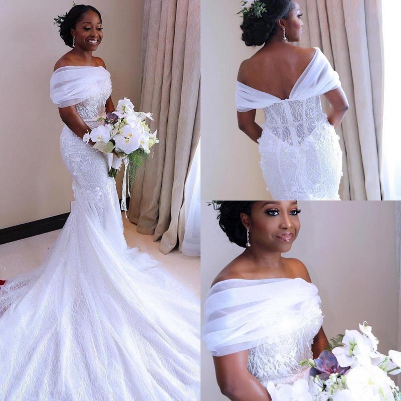 Скромные Африканские свадебные платья-русалки 2021, кружевные свадебные платья, черные женские платья, свадебное платье ручной работы