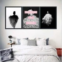 haochu abstract cool girl canvas painting for living room home decor painting print poster simple nordic wall picture