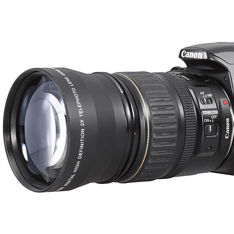 Durable Professional 52mm 2x Telephoto Lens Converter For Nikon D5100 D3200 D70 D40 DSLR Camera with Cover