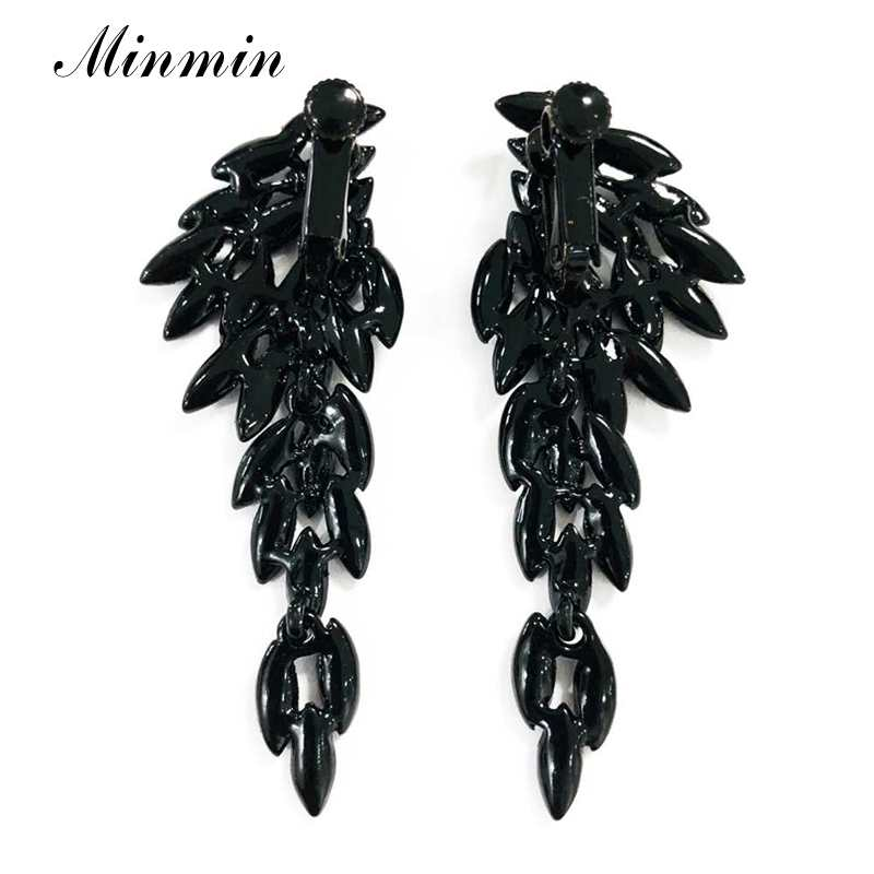 Minmin Vintage Black Crystal Angel Wings Long Drop Earrings 2019 Fashion Korean Jewelry Trendy Dangle Clip Earrings Female EH209